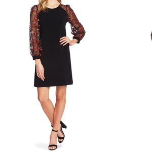 CECE Embroidered Long Sleeve Shift Dress